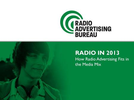RADIO IN 2013 How Radio Advertising Fits in the Media Mix.