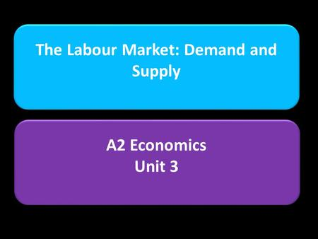 The Labour Market: Demand and Supply