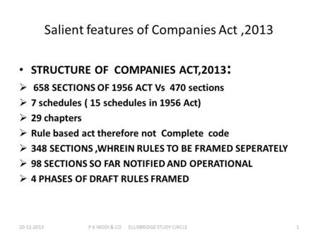 Salient features of Companies Act,2013 STRUCTURE OF COMPANIES ACT,2013 :  658 SECTIONS OF 1956 ACT Vs 470 sections  7 schedules ( 15 schedules in 1956.