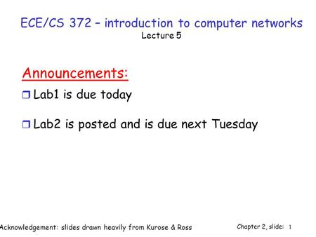 Chapter 2, slide: 1 ECE/CS 372 – introduction to computer networks Lecture 5 Announcements: r Lab1 is due today r Lab2 is posted and is due next Tuesday.