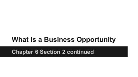 What Is a Business Opportunity Chapter 6 Section 2 continued.