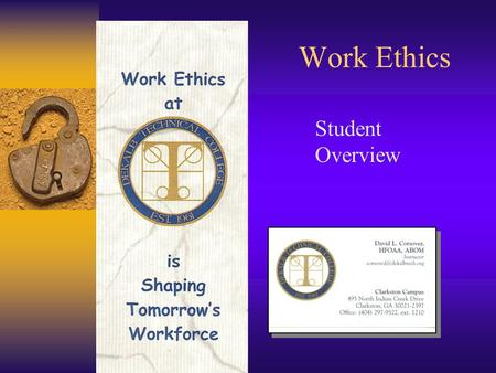 Work Ethics Student Overview.