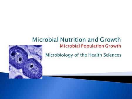 Microbiology of the Health Sciences.  Growth takes place on two levels ◦ Cell synthesizes new cell components and increases in size ◦ The number of cells.