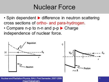 Nuclear and Radiation Physics, BAU, First Semester, 2007-2008 (Saed Dababneh). 1 Nuclear Force Spin dependent  difference in neutron scattering cross.