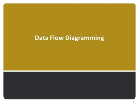 Data Flow Diagramming 1. Represent processes  …that capture, manipulate, store, & distribute data  …between a system & its environment  … & among system.