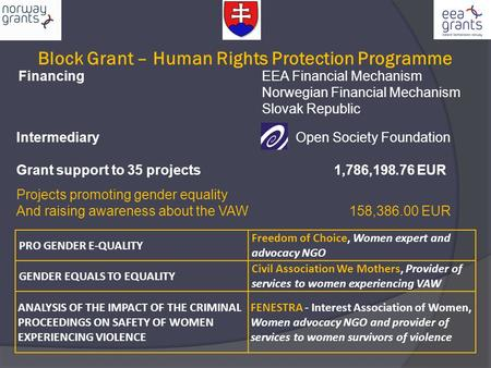 Block Grant – Human Rights Protection Programme Financing EEA Financial Mechanism Norwegian Financial Mechanism Slovak Republic Intermediary Open Society.