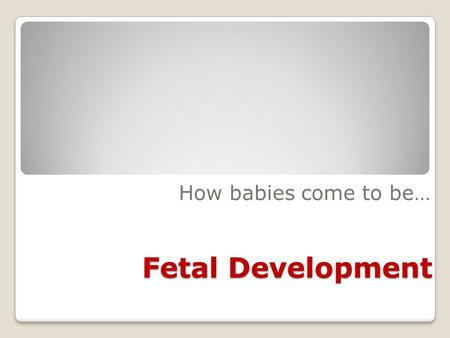 Fetal Development How babies come to be…. An egg goes down the fallopian tube after ovulation; if a sperm makes its way from the vagina through the uterus.