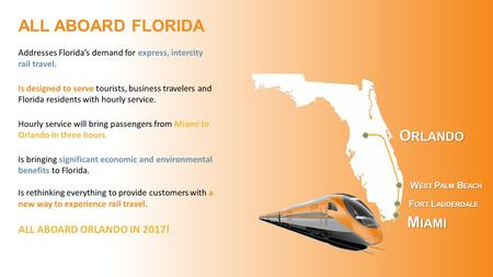 M IAMI F ORT L AUDERDALE W EST P ALM B EACH O RLANDO Addresses Florida's demand for express, intercity rail travel. Is designed to serve tourists, business.