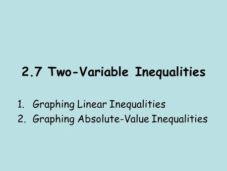 how to solve inequalities with two variables