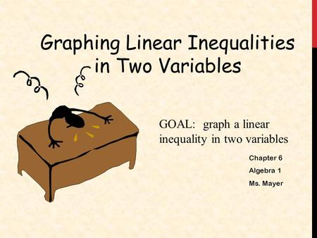 Graphing Linear Inequalities in Two Variables GOAL: graph a linear inequality in two variables Chapter 6 Algebra 1 Ms. Mayer.