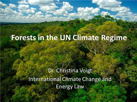 Forests in the UN Climate Regime Dr. Christina Voigt International Climate Change and Energy Law.
