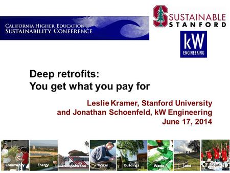 Deep retrofits: You get what you pay for Leslie Kramer, Stanford University and Jonathan Schoenfeld, kW Engineering June 17, 2014.