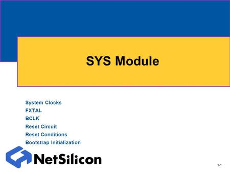 1-1 SYS Module System Clocks FXTAL BCLK Reset Circuit Reset Conditions Bootstrap Initialization.
