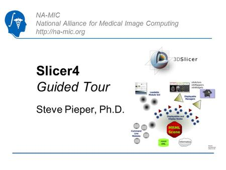 NA-MIC National Alliance for Medical Image Computing  Slicer4 Guided Tour Steve Pieper, Ph.D.