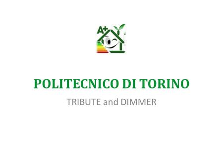 POLITECNICO DI TORINO TRIBUTE and DIMMER. DIMMER - The context One of the major challenges in today's economy concerns the reduction in energy usage and.