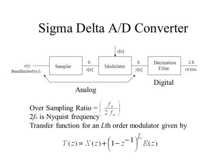 Sigma Delta A/D Converter SamplerModulator Decimation Filter x(t) x[n]y[n] Analog Digital fsfs fsfs 2 f o 16 bits e[n] Over Sampling Ratio = 2f o is Nyquist.