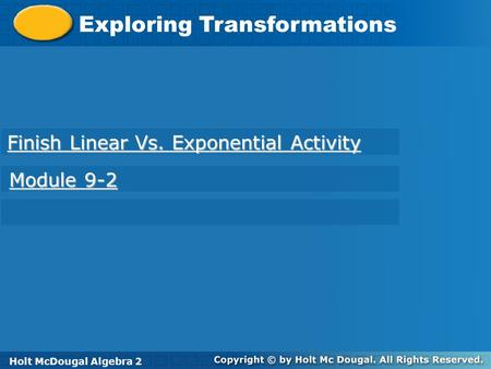 Finish Linear Vs. Exponential Activity