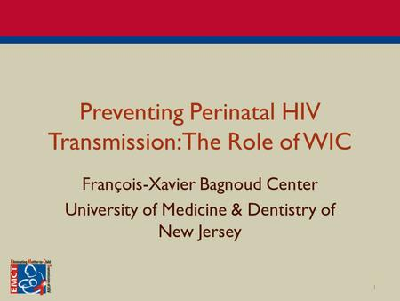 Preventing Perinatal HIV Transmission: The Role of WIC François-Xavier Bagnoud Center University of Medicine & Dentistry of New Jersey 1.