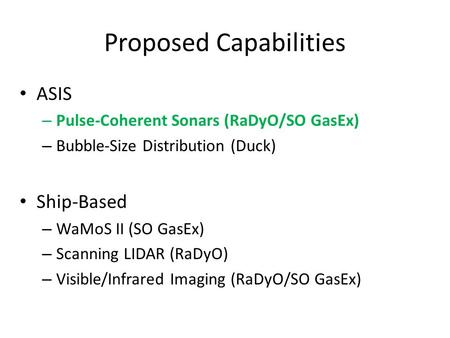 Proposed Capabilities ASIS – Pulse-Coherent Sonars (RaDyO/SO GasEx) – Bubble-Size Distribution (Duck) Ship-Based – WaMoS II (SO GasEx) – Scanning LIDAR.
