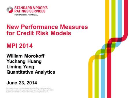New Performance Measures for Credit Risk Models MPI 2014