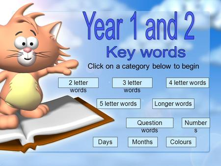 Click on a category below to begin 2 letter words 3 letter words 4 letter words 5 letter words Question words DaysMonthsColours Number s Longer words.