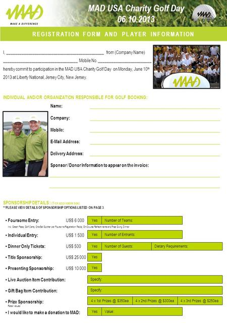 REGISTRATION FORM AND PLAYER INFORMATION I, ______________________________________________ from (Company Name) ___________________________________ Mobile.
