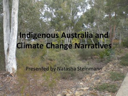 Indigenous Australia and Climate Change Narratives Presented by Natasha Steinmann.
