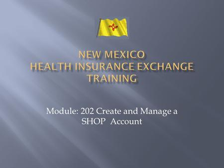 Module: 202 Create and Manage a SHOP Account. It is recommended that Agents, assisting Employers with Setup and Plans in NMHIX, take this course.