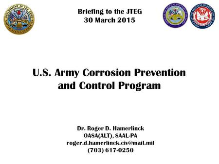 U.S. Army Corrosion Prevention and Control Program