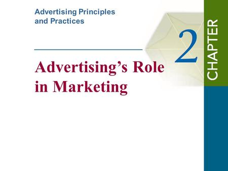Advertising's Role in Marketing Advertising Principles and Practices.