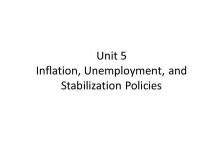 Unit 5 Inflation, Unemployment, and Stabilization Policies.