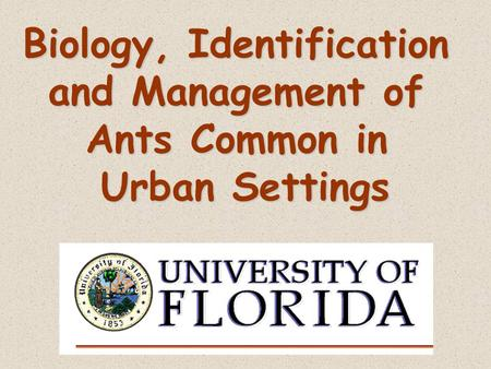 Biology, Identification and Management of Ants Common in Urban Settings.