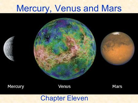 Mercury, Venus and Mars Chapter Eleven. ASTR 111 – 003 Fall 2007 Lecture 10 Nov. 05, 2007 Introducing Astronomy (chap. 1-6) Introduction To Modern Astronomy.