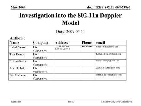 Doc.: IEEE 802.11-09/0538r0 Submission May 2009 Eldad Perahia, Intel CorporationSlide 1 Investigation into the 802.11n Doppler Model Date: 2009-05-11 Authors: