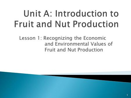 Lesson 1: Recognizing the Economic and Environmental Values of Fruit and Nut Production 1.
