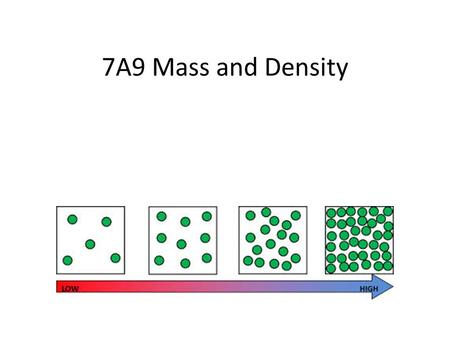 7A9 Mass and Density. Vocabulary Mass: – How much matter is in an object Density: – Physical property of a substance – Mass of a substance per unit of.