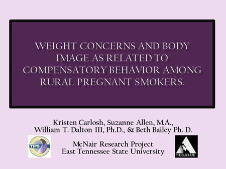 Kristen Carlosh, Suzanne Allen, M.A., William T. Dalton III, Ph.D., & Beth Bailey Ph. D. McNair Research Project East Tennessee State University.