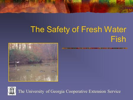 The Safety of Fresh Water Fish The University of Georgia Cooperative Extension Service.