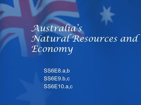 Australia's Natural Resources and Economy