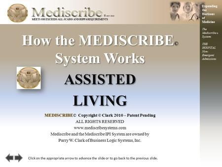 How the MEDISCRIBE © System Works © clark 2010 ASSISTED LIVING ASSISTED LIVING MEDISCRIBEMEDISCRIBE© Copyright © Clark 2010 – Patent Pending ALL RIGHTS.