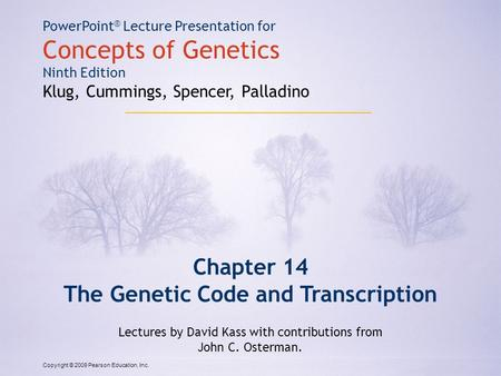 The Genetic Code and Transcription