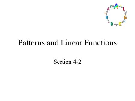 Patterns and Linear Functions