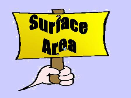 Surface Area What does it mean to you? Does it have anything to do with what is in the inside of the prism.? Surface area is found by finding the area.
