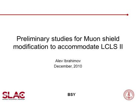 Preliminary studies for Muon shield modification to accommodate LCLS II Alev Ibrahimov December, 2010 BSY.