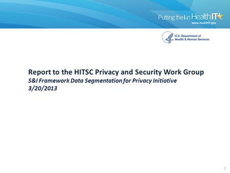 Report to the HITSC Privacy and Security Work Group S&I Framework Data Segmentation for Privacy Initiative 3/20/2013 1.