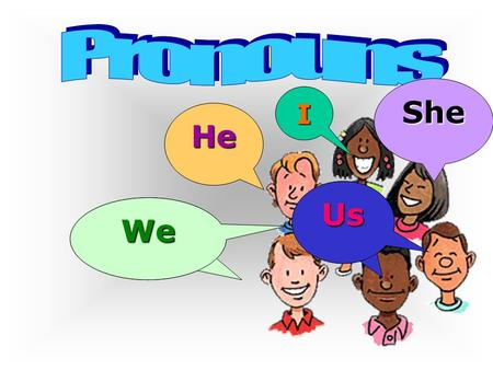 WeWe Us He I She Pronouns A pronoun is a word used instead of a noun or another pronoun.