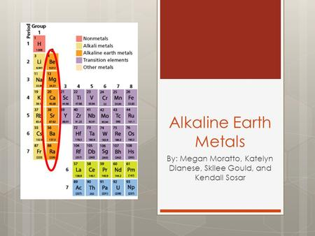 Alkaline Earth Metals By: Megan Moratto, Katelyn Dianese, Skilee Gould, and Kendall Sosar.