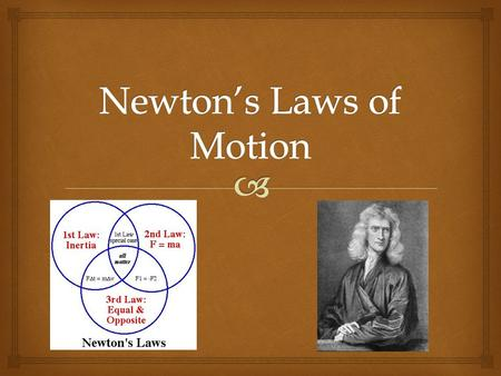  Definition:  An object at rest remains at rest and an object in motion maintains its position unless it experiences an Outside force. Newton's 1st.