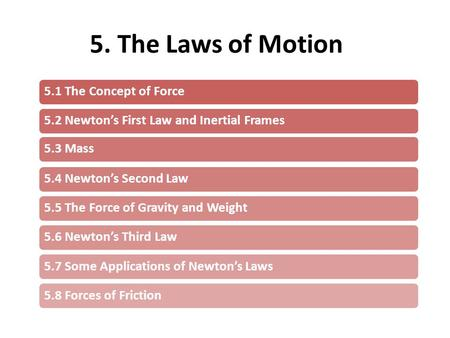 5. The Laws of Motion 5.1 The Concept of Force5.2 Newton's First Law and Inertial Frames5.3 Mass5.4 Newton's Second Law5.5 The Force of Gravity and Weight5.6.