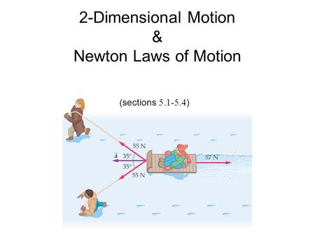 2-Dimensional Motion & Newton Laws of Motion (sections 5.1-5.4 )